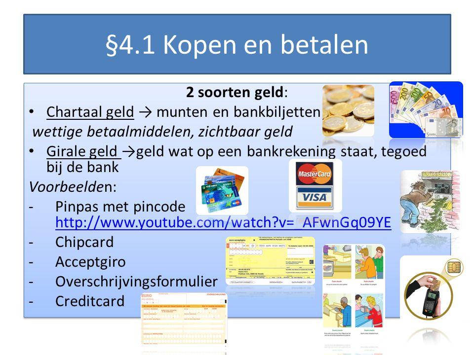 §4.1 Kopen en betalen 2 soorten geld: