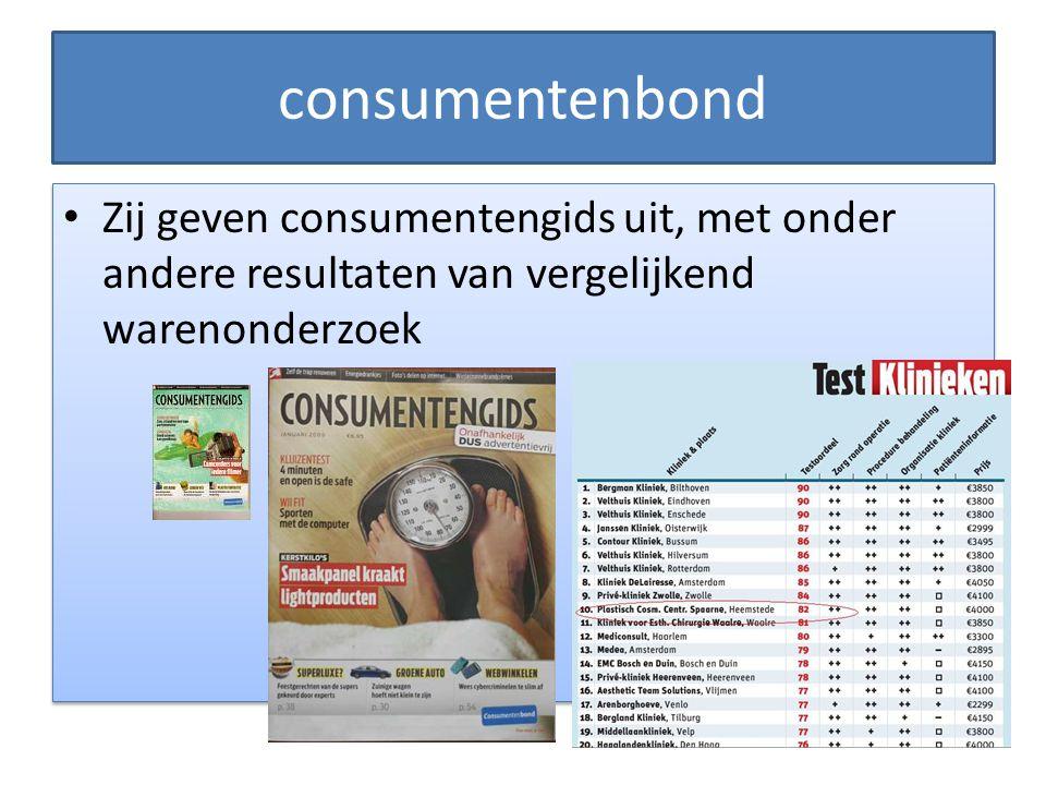 consumentenbond Zij geven consumentengids uit, met onder andere resultaten van vergelijkend warenonderzoek.
