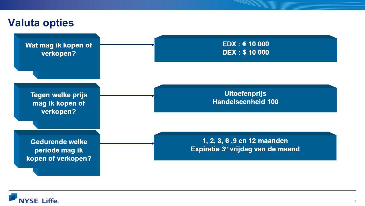 Valuta opties Wat mag ik kopen of verkopen EDX : € 10 000