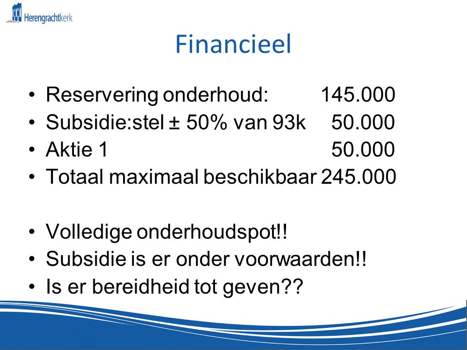 Financieel Reservering onderhoud: 145.000