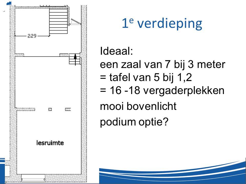 1e verdieping Ideaal: een zaal van 7 bij 3 meter = tafel van 5 bij 1,2 = 16 -18 vergaderplekken. mooi bovenlicht.