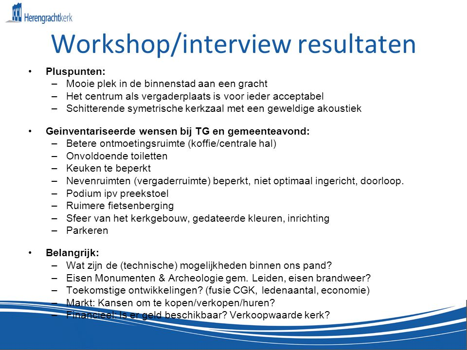 Workshop/interview resultaten