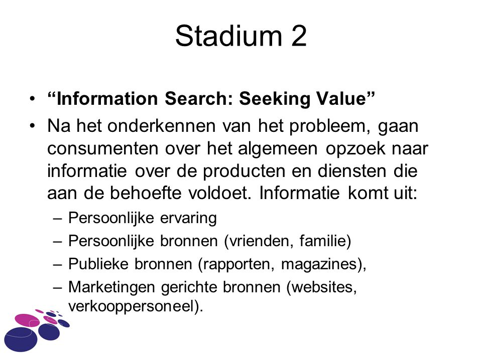 Stadium 2 Information Search: Seeking Value