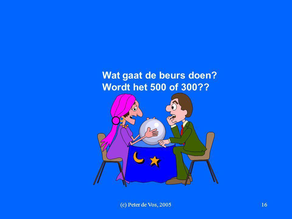 Wat gaat de beurs doen Wordt het 500 of 300 (c) Peter de Vos, 2005