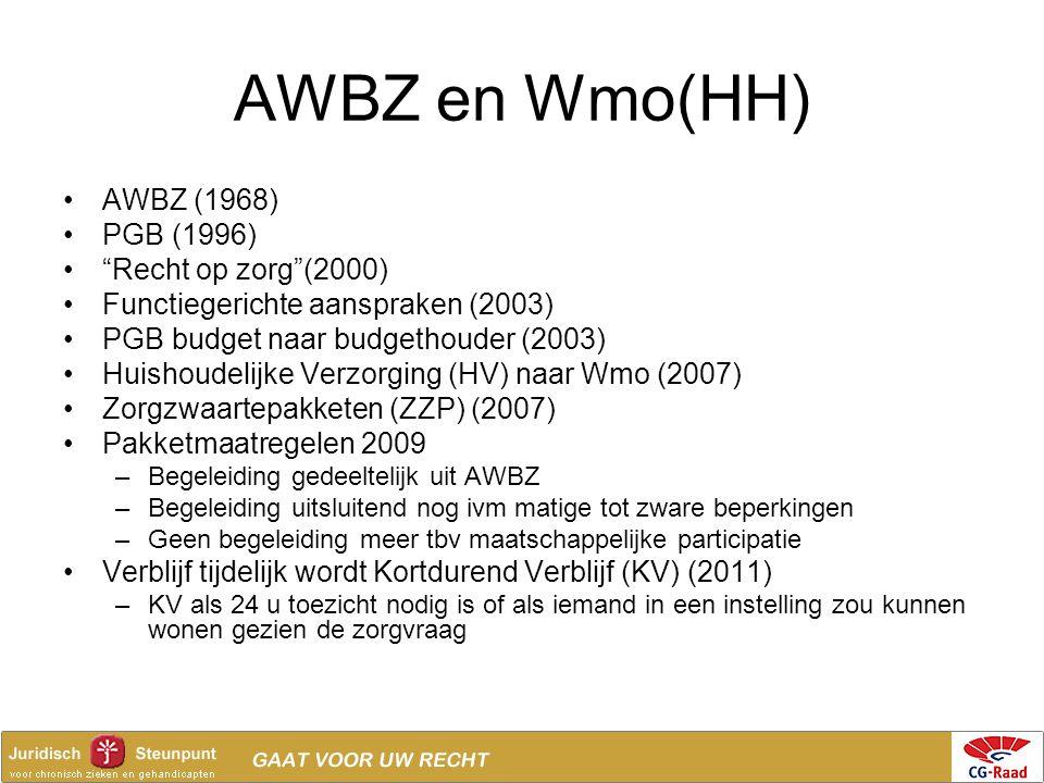 AWBZ en Wmo(HH) AWBZ (1968) PGB (1996) Recht op zorg (2000)