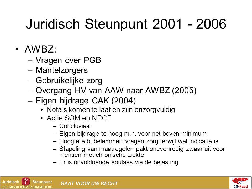 Juridisch Steunpunt 2001 - 2006 AWBZ: Vragen over PGB Mantelzorgers