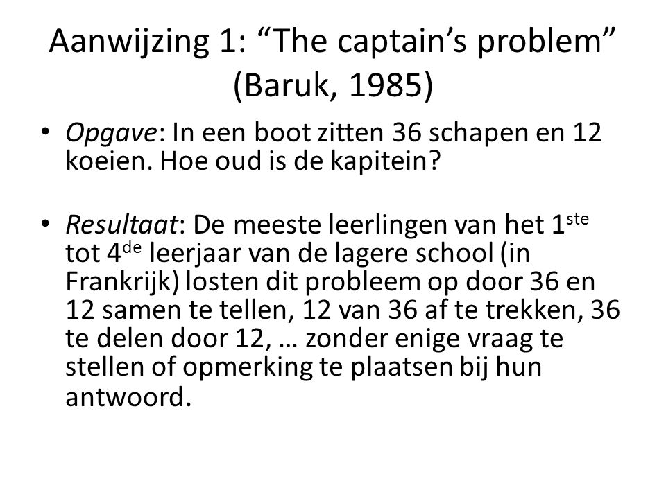 Aanwijzing 1: The captain's problem (Baruk, 1985)