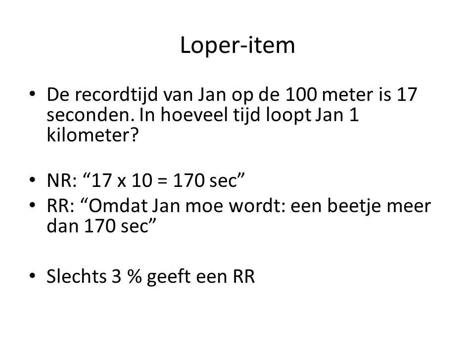 Loper-item De recordtijd van Jan op de 100 meter is 17 seconden. In hoeveel tijd loopt Jan 1 kilometer