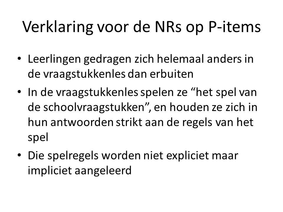 Verklaring voor de NRs op P-items