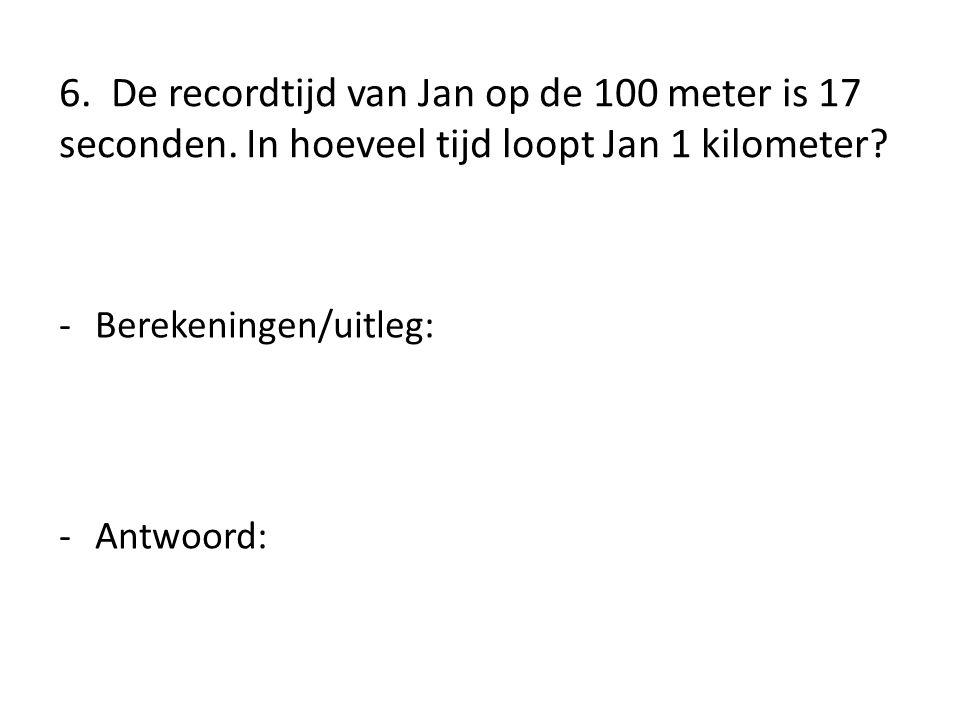 6. De recordtijd van Jan op de 100 meter is 17 seconden