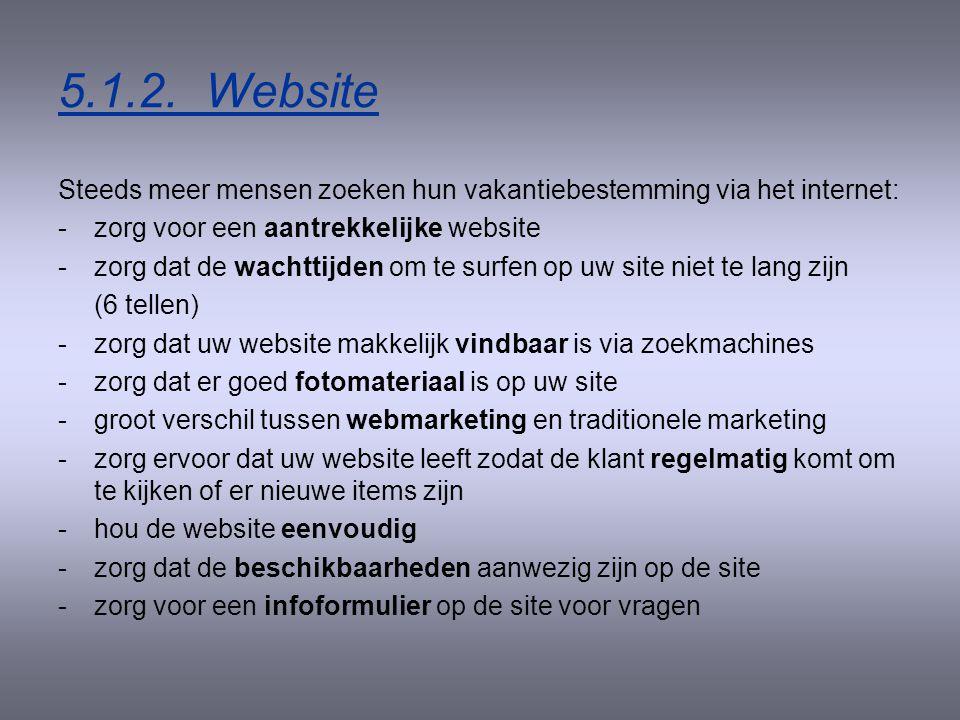 5.1.2. Website Steeds meer mensen zoeken hun vakantiebestemming via het internet: zorg voor een aantrekkelijke website.