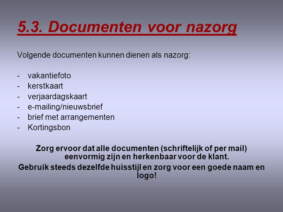 5.3. Documenten voor nazorg