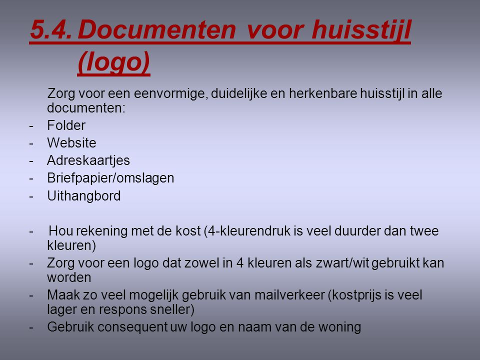 5.4. Documenten voor huisstijl (logo)