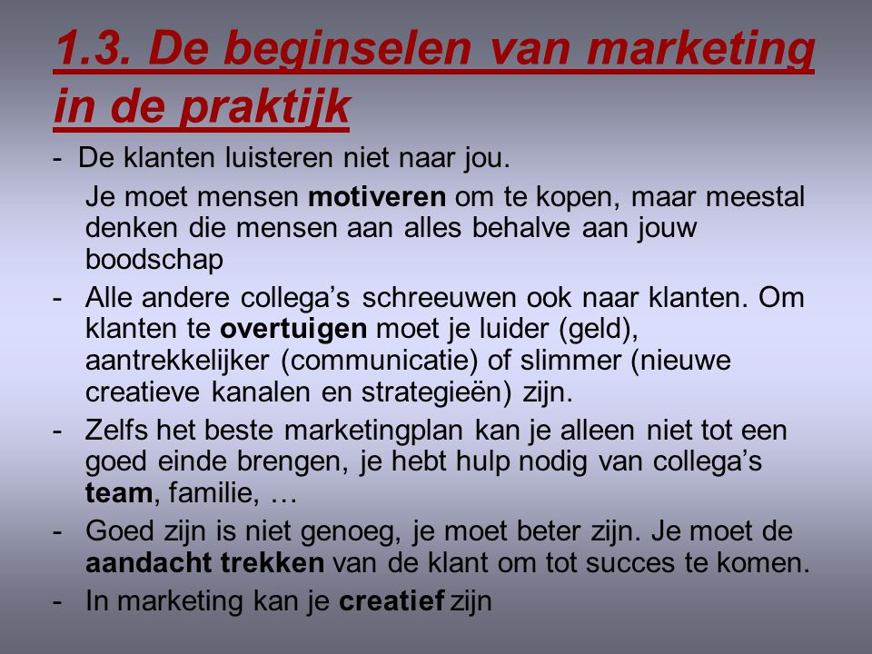 1.3. De beginselen van marketing in de praktijk