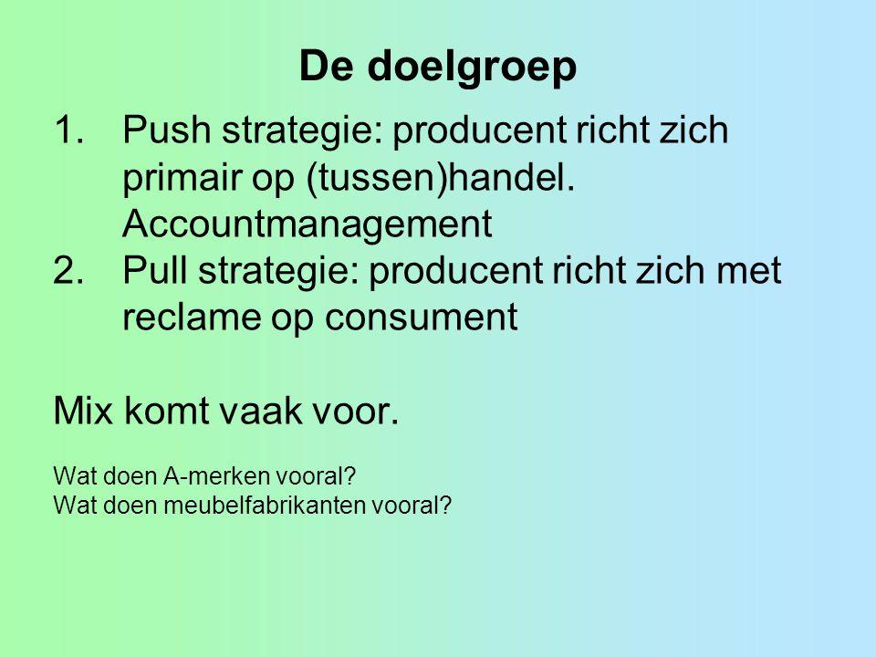 De doelgroep Push strategie: producent richt zich primair op (tussen)handel. Accountmanagement.