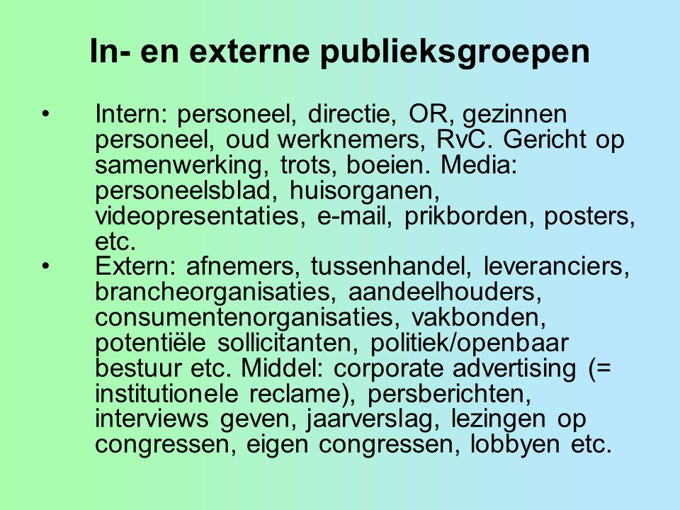 In- en externe publieksgroepen