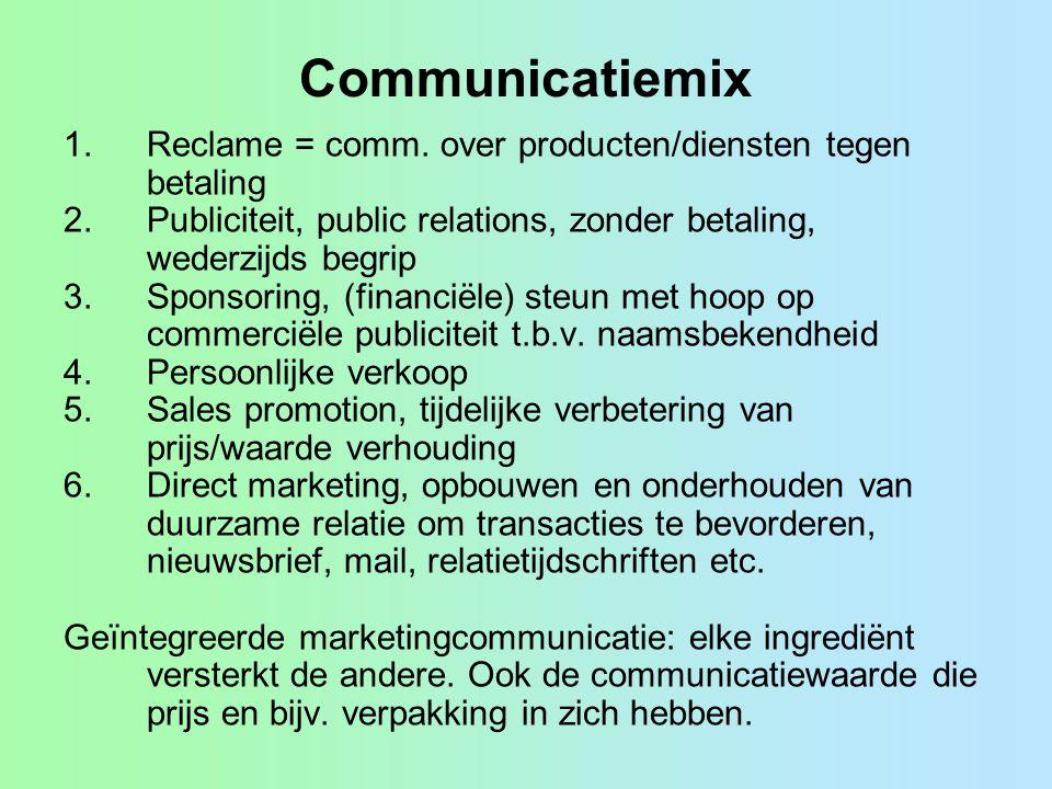 Communicatiemix Reclame = comm. over producten/diensten tegen betaling
