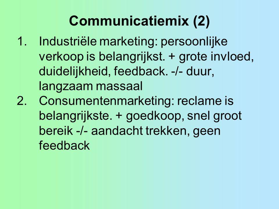 Communicatiemix (2) Industriële marketing: persoonlijke verkoop is belangrijkst. + grote invloed, duidelijkheid, feedback. -/- duur, langzaam massaal.
