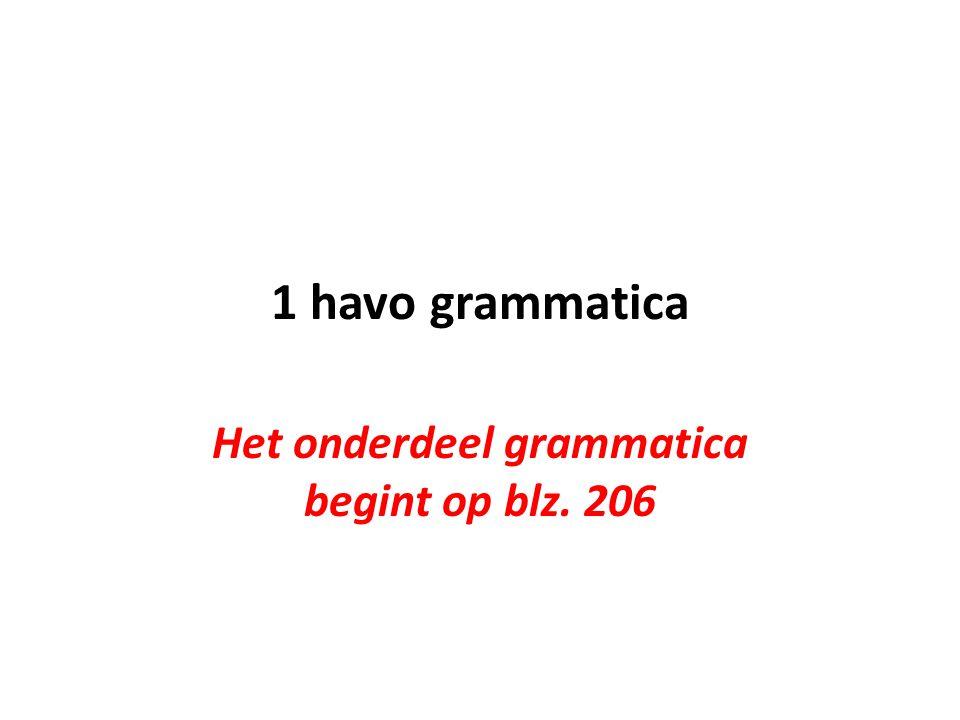 Het onderdeel grammatica begint op blz. 206