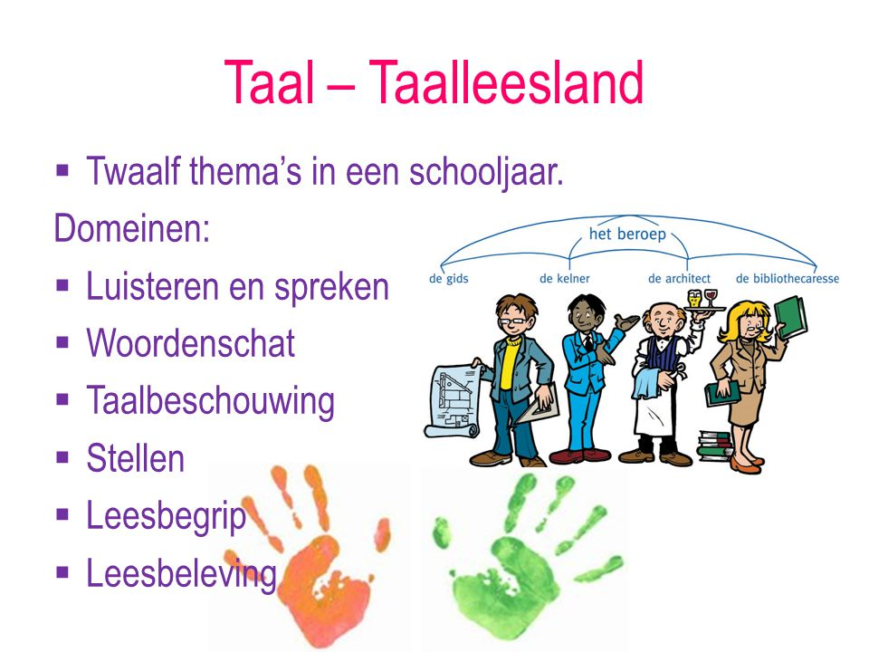 Taal – Taalleesland Twaalf thema's in een schooljaar. Domeinen: