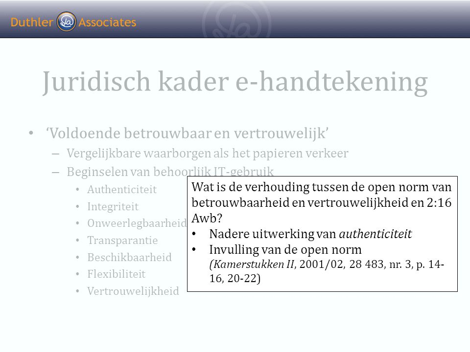Juridisch kader e-handtekening