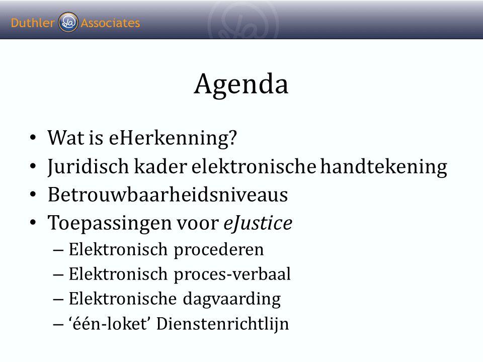 Agenda Wat is eHerkenning Juridisch kader elektronische handtekening