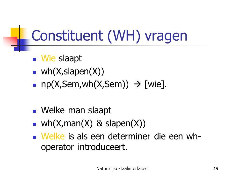 Constituent (WH) vragen