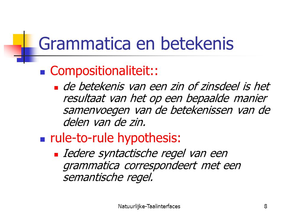 Grammatica en betekenis