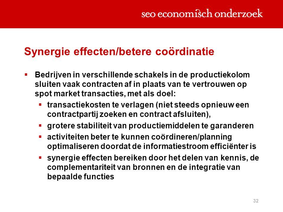 Synergie effecten/betere coördinatie