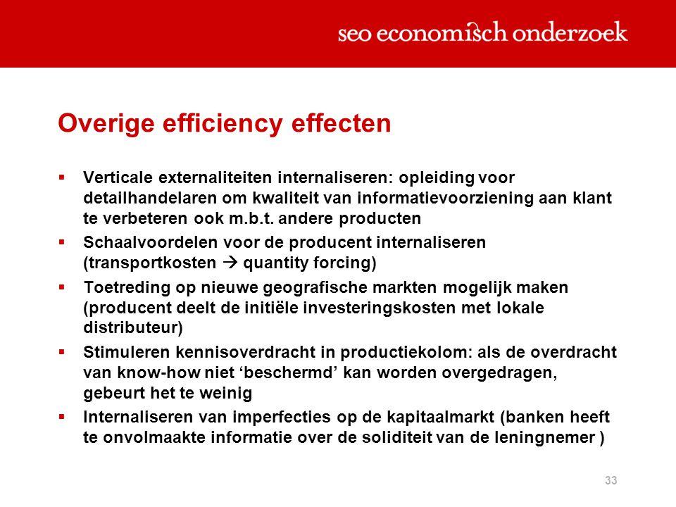 Overige efficiency effecten
