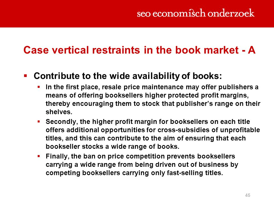 Case vertical restraints in the book market - A