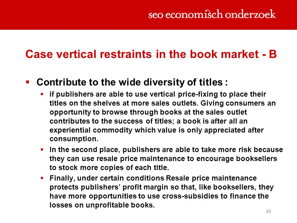 Case vertical restraints in the book market - B