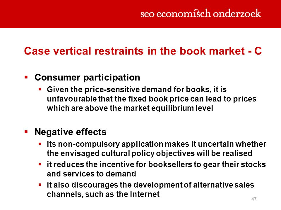 Case vertical restraints in the book market - C