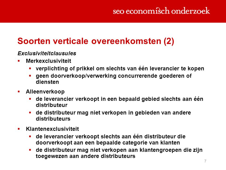Soorten verticale overeenkomsten (2)