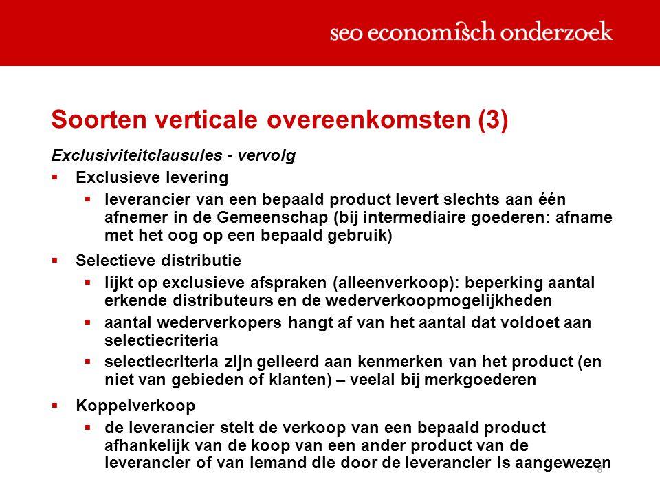 Soorten verticale overeenkomsten (3)