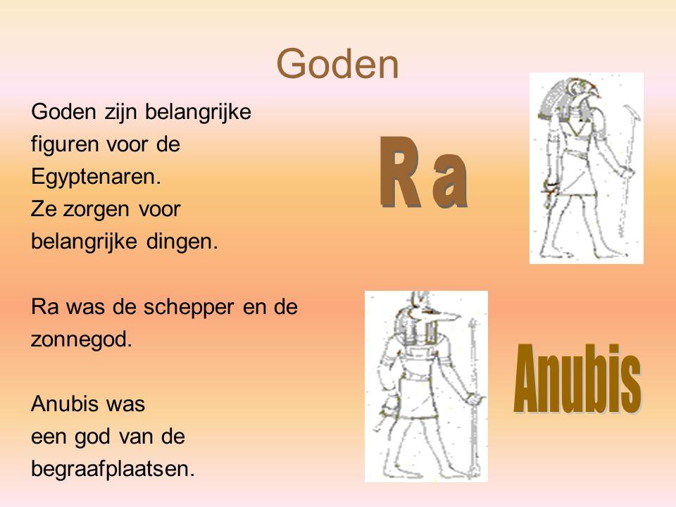 Goden Ra Anubis Goden zijn belangrijke figuren voor de Egyptenaren.