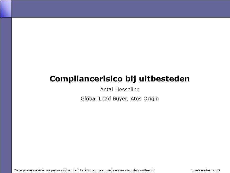 Compliancerisico bij uitbesteden