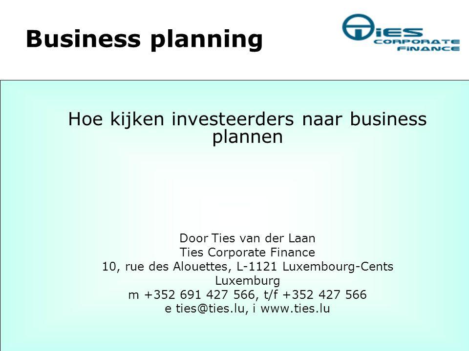 Business planning Hoe kijken investeerders naar business plannen