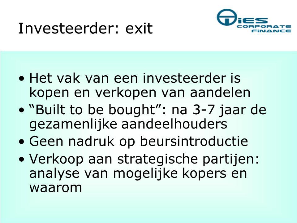 Investeerder: exit Het vak van een investeerder is kopen en verkopen van aandelen. Built to be bought : na 3-7 jaar de gezamenlijke aandeelhouders.