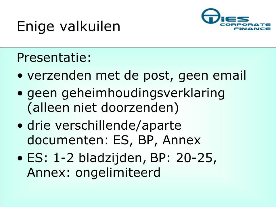 Enige valkuilen Presentatie: verzenden met de post, geen email