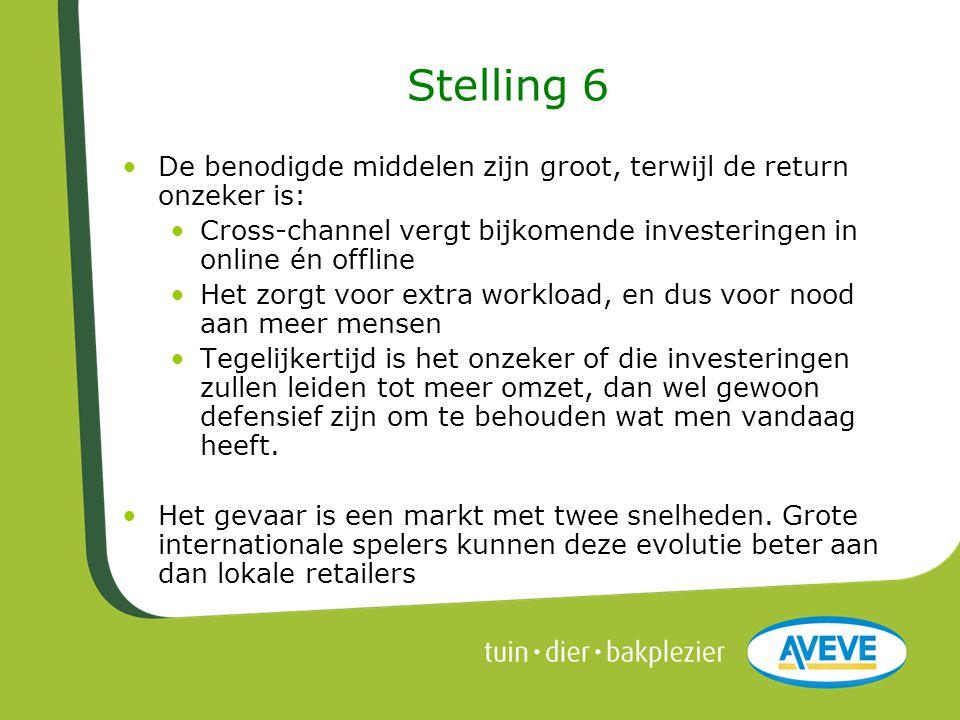 Stelling 6 De benodigde middelen zijn groot, terwijl de return onzeker is: Cross-channel vergt bijkomende investeringen in online én offline.