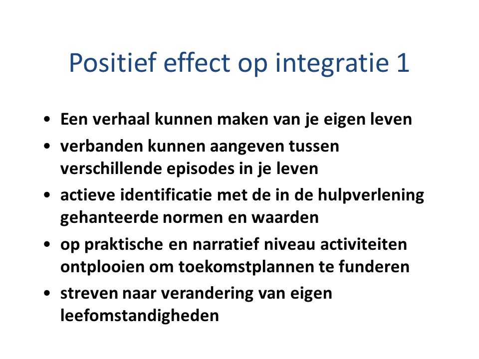 Positief effect op integratie 1
