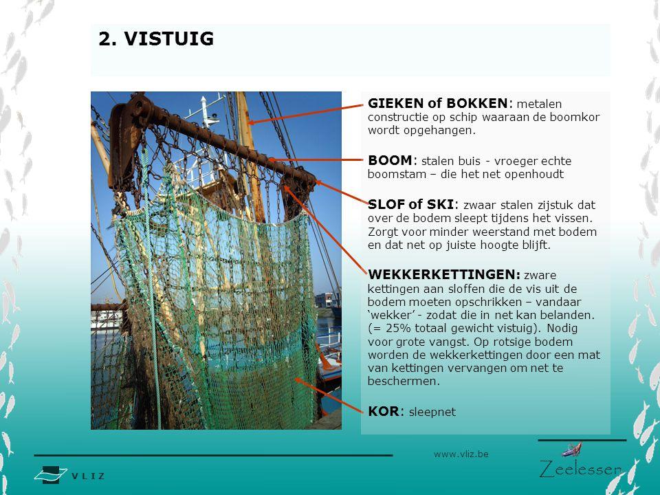 2. VISTUIG GIEKEN of BOKKEN: metalen constructie op schip waaraan de boomkor wordt opgehangen.