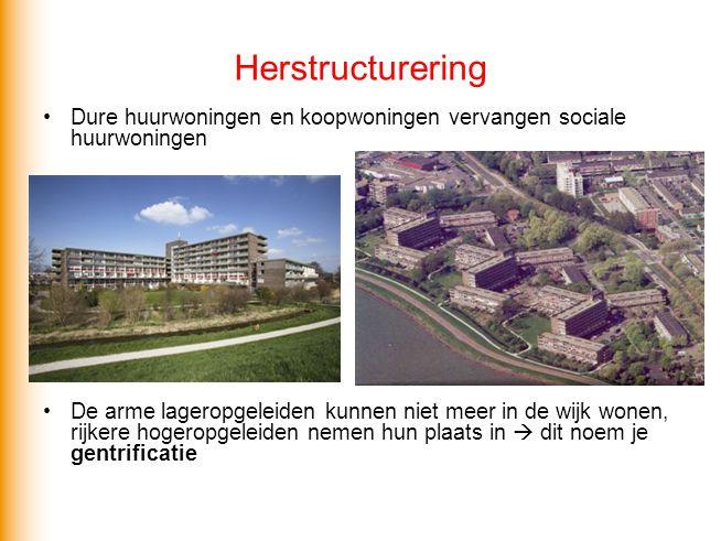 Herstructurering Dure huurwoningen en koopwoningen vervangen sociale huurwoningen.