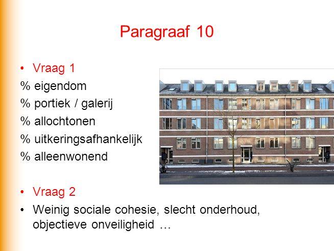 Paragraaf 10 Vraag 1 % eigendom % portiek / galerij % allochtonen