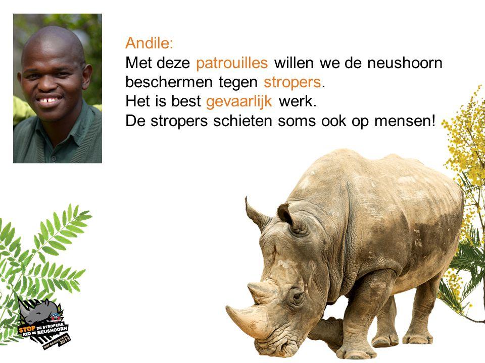Andile: Met deze patrouilles willen we de neushoorn. beschermen tegen stropers. Het is best gevaarlijk werk.