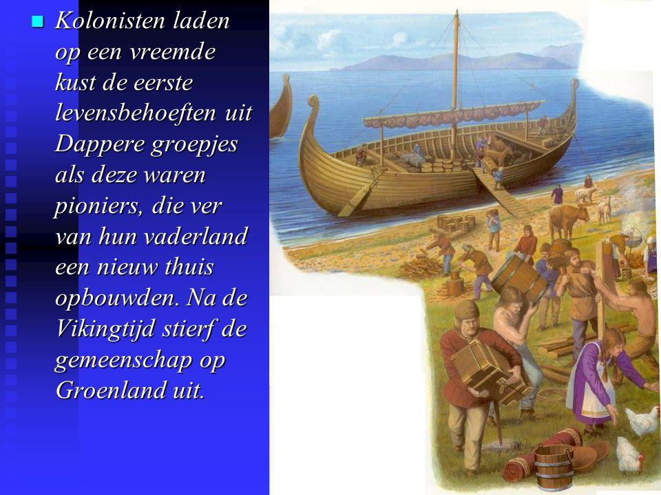 Kolonisten laden op een vreemde kust de eerste levensbehoeften uit Dappere groepjes als deze waren pioniers, die ver van hun vaderland een nieuw thuis opbouwden.