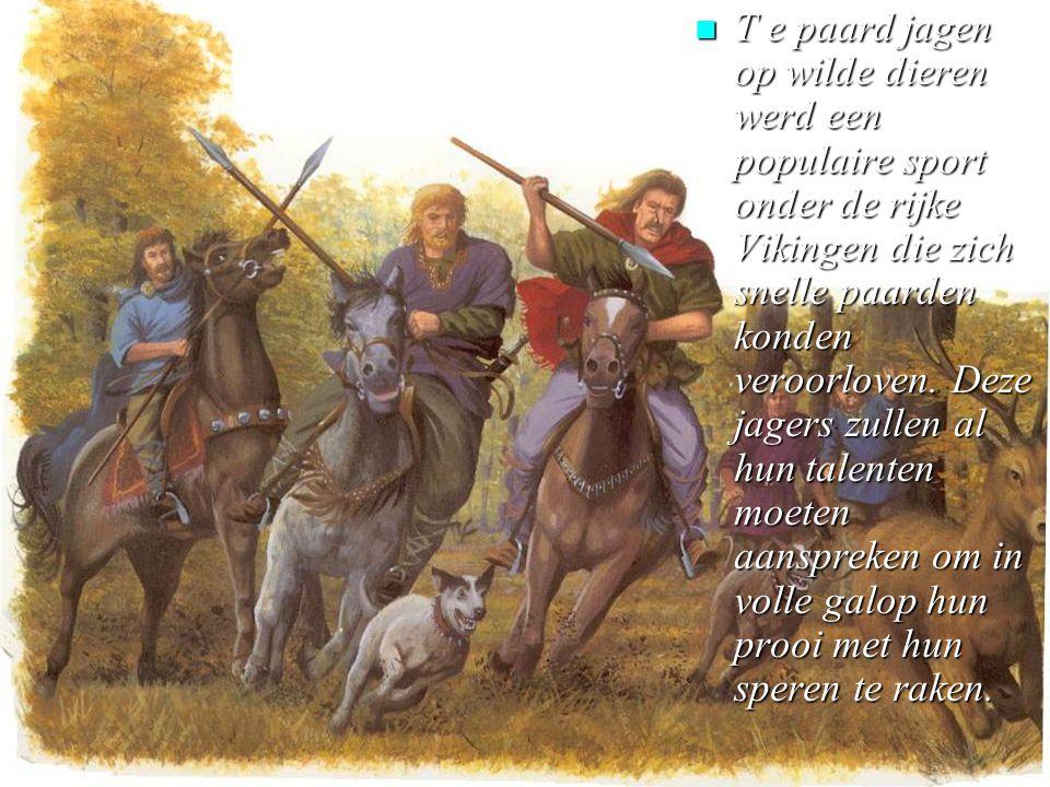 T e paard jagen op wilde dieren werd een populaire sport onder de rijke Vikingen die zich snelle paarden konden veroorloven.