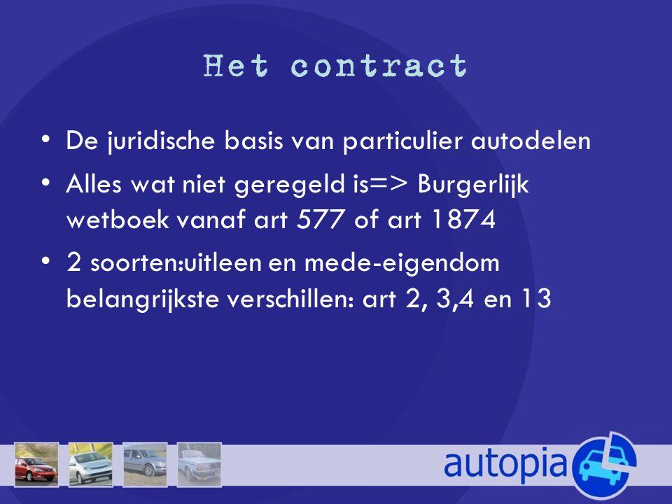Het contract De juridische basis van particulier autodelen