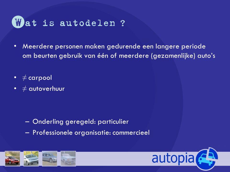 W at is autodelen Meerdere personen maken gedurende een langere periode om beurten gebruik van één of meerdere (gezamenlijke) auto's.
